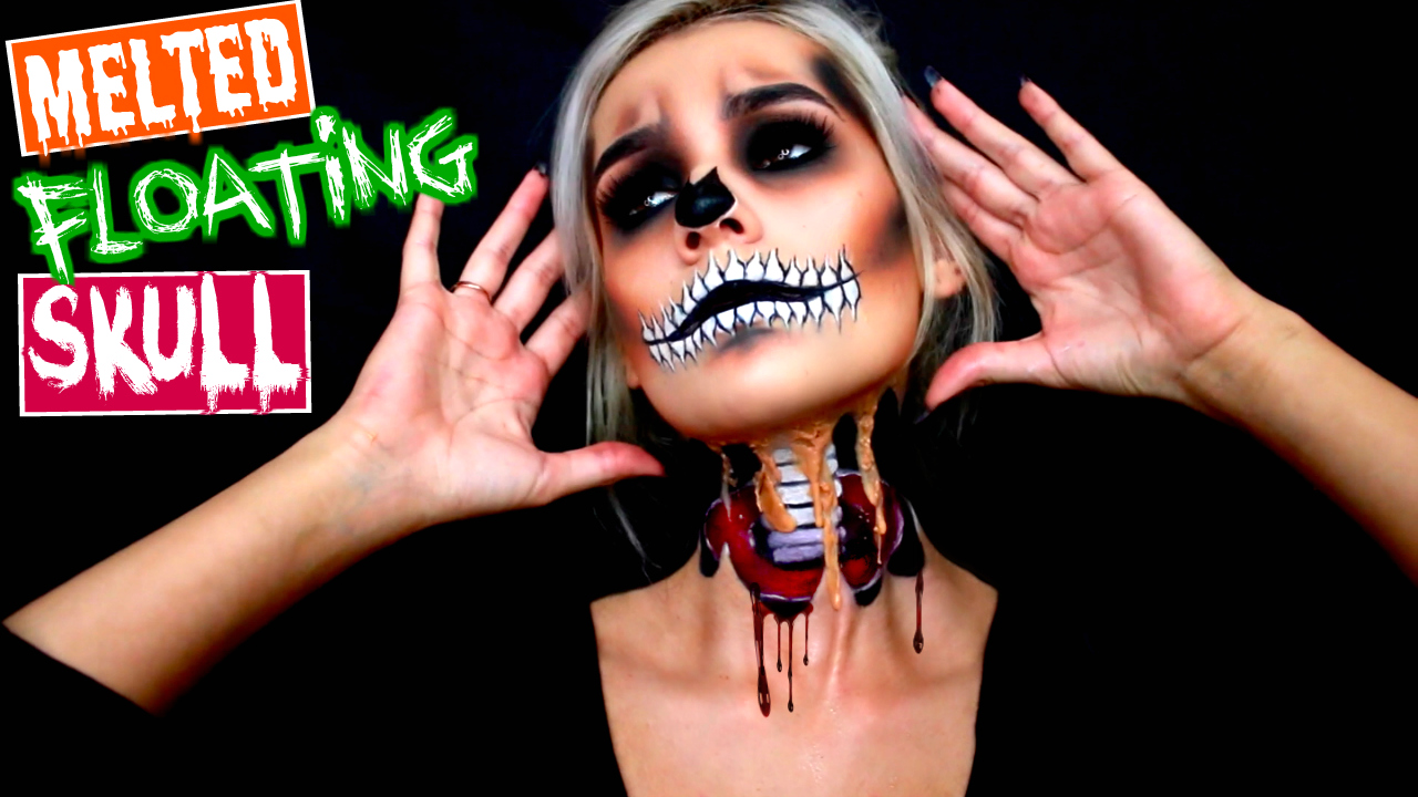 Floating Skull Halloween Makeup Tutorial